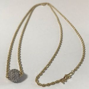 "Jewelry - Vintage 14K Gold Diamond Ball 30"" 14k Rope Chain!!"